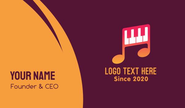keyboard - Piano Melody Music School Business card horizontal design