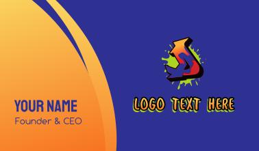 Graffiti Ink Splatter Letter D Business Card
