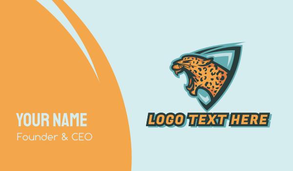 leopard - Roaring Leopard Shield Mascot Business card horizontal design