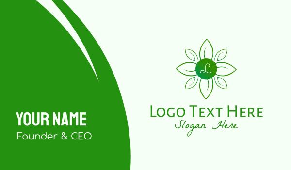 nature conservation - Green Natural Wellness Lettermark Business card horizontal design