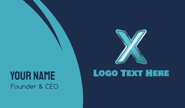 Blue Letter X Business Card
