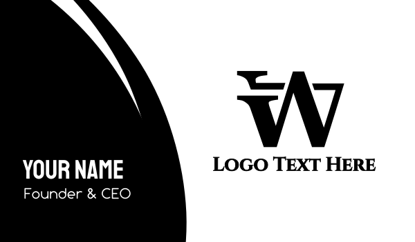 showroom - Black Modern W Business card horizontal design