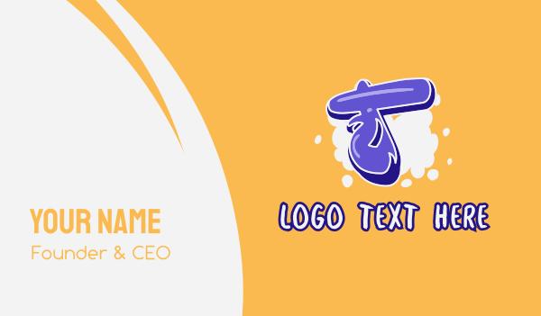 vibrant - Blockbuster Graffiti Letter T Business card horizontal design