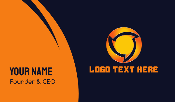orange sun - Round Saw Business card horizontal design