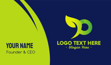 Organic Green Letter P Business Card