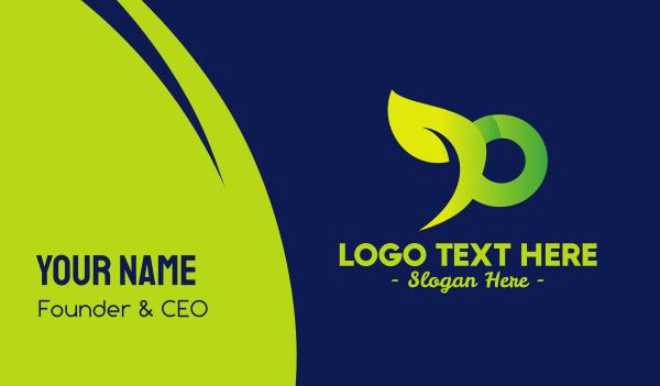 farming - Organic Green Letter P Business card horizontal design
