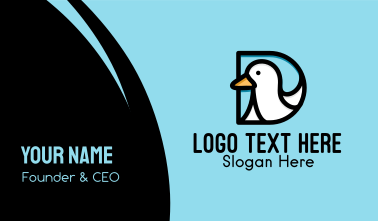 Duck Letter D  Business Card