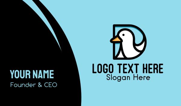 goose - Duck Letter D  Business card horizontal design