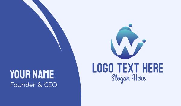fluid - Blue Liquid Letter W Business card horizontal design