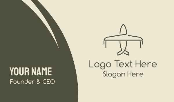 plane - Minimalist Airplane Business card horizontal design