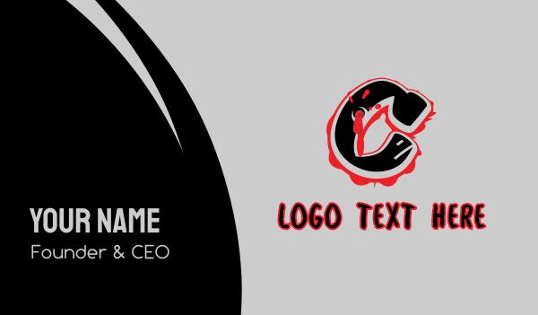 bullet hole - Splatter Graffiti Letter C Business card horizontal design