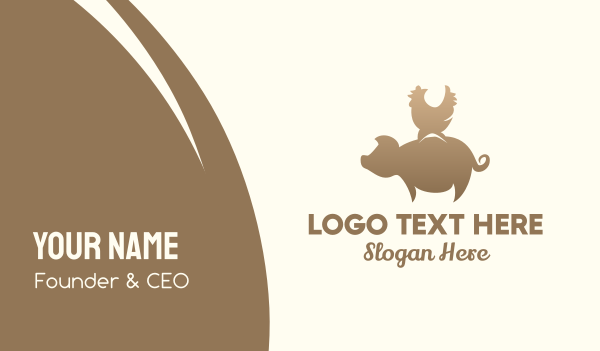 barn - Brown Pig & Rooster Business card horizontal design