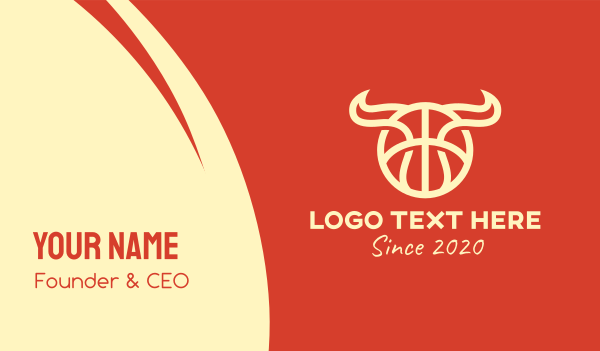 sport - Bull Horns Basketball Business card horizontal design