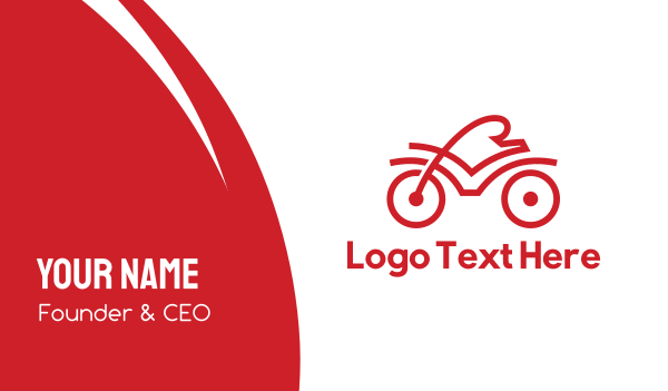 triathlon - Red Cyclist Outline Business card horizontal design
