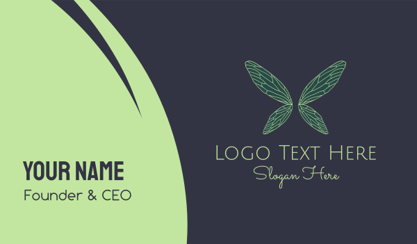 mythical - Green Fairy Wings Boutique Business card horizontal design
