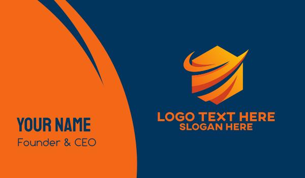 web developer - Modern Orange Tech Company  Business card horizontal design