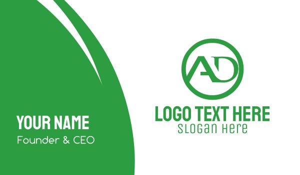 green circle - A & D Business card horizontal design