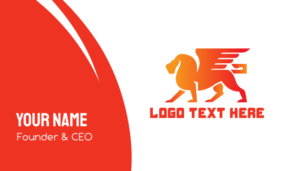mythology - Orange Winged Lion Business card horizontal design