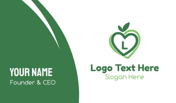 date - Green Nature Love Lettermark Business card horizontal design