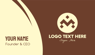 Brown Ethnic Pattern Letter M Business Card