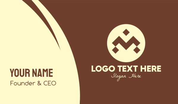 cultural - Brown Ethnic Pattern Letter M Business card horizontal design
