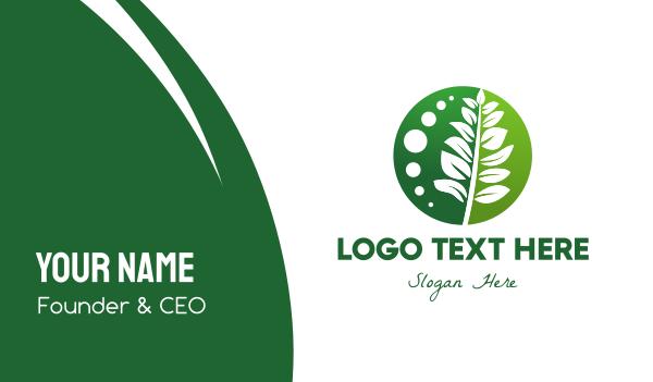 green circle - Green Plant Business card horizontal design