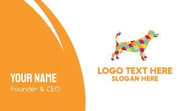 Colorful Mosaic Diamond Dog Business Card