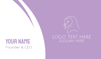 Minimalist Barn Owl Business Card