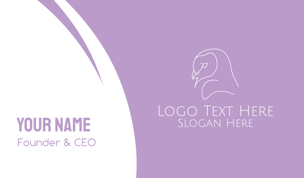 birdie - Minimalist Barn Owl Business card horizontal design