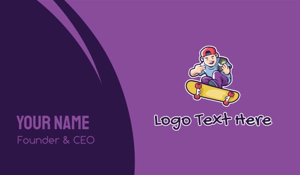 skater - Rich Skater Boy  Business card horizontal design