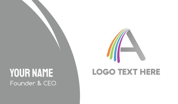 purple orange - Rainbow A Business card horizontal design