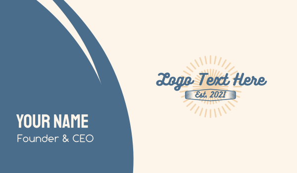 script - Summer Surfing Wordmark Business card horizontal design