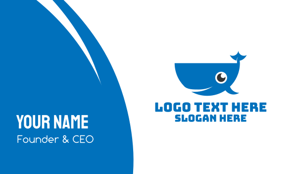 blue fish - Blue Cute Whale Business card horizontal design