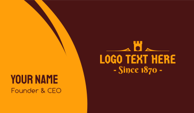 Golden Medieval Castle Text Business Card