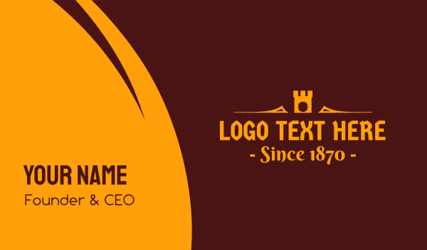 text - Golden Medieval Castle Text Business card horizontal design