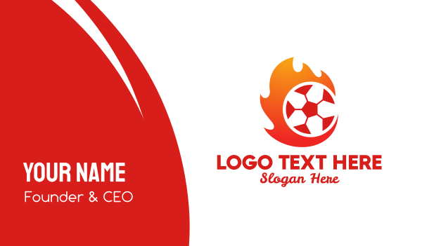 professional football - Flaming Soccer Football Ball Business card horizontal design
