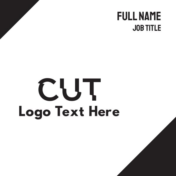 Cut Text Font Wordmark Business Card