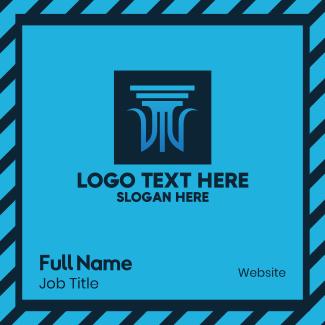Blue Legal Column Business Card