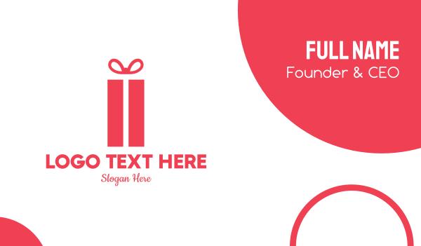 anniversary - Pink Gift Box Business card horizontal design