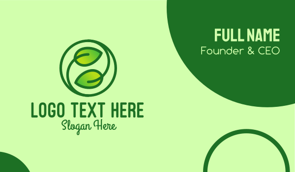 green - Gradient Organic Leaves Business card horizontal design