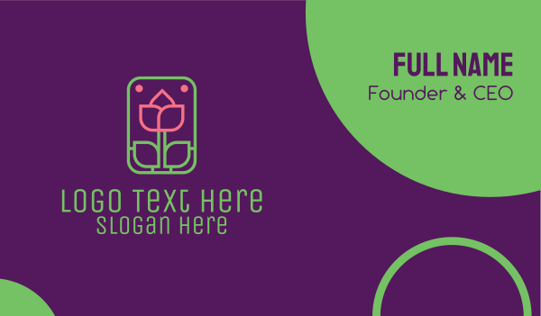 ecofriendly - Tulip Flower Business card horizontal design