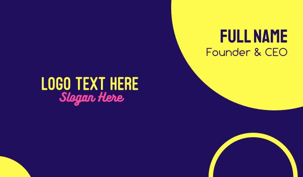 fluorescent - Fluorescent Yellow Pink Text Business card horizontal design