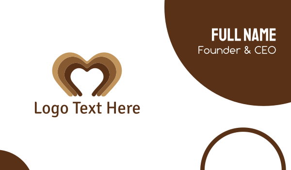 fudge - Brown Heart Business card horizontal design