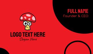 Cute Happy Mushroom Business Card