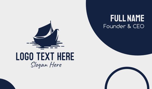 lagoon - Blue Boat Business card horizontal design