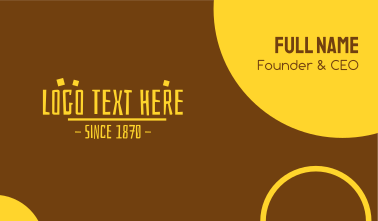 Yellow Prehistoric Text Business Card
