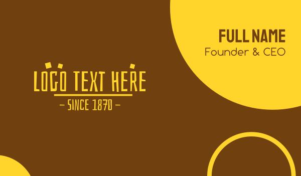 old school - Yellow Prehistoric Text Business card horizontal design