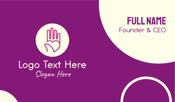 welfare - Purple Caring Hand Business card horizontal design