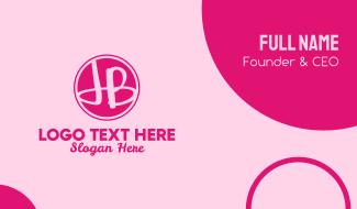 Fancy Pink Monogram J & B Business Card