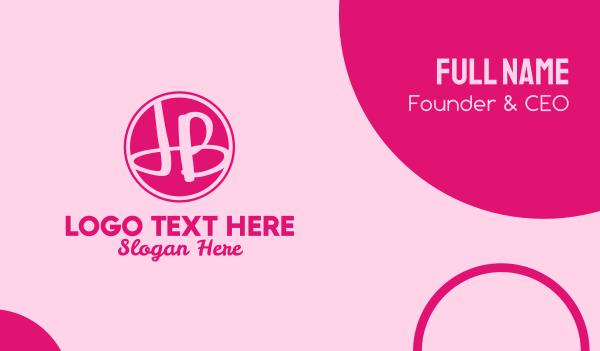 beauty parlor - Fancy Pink Monogram J & B Business card horizontal design